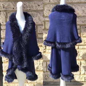 LUXURY Navy Blue double layer Faux Fur CAPE Coat
